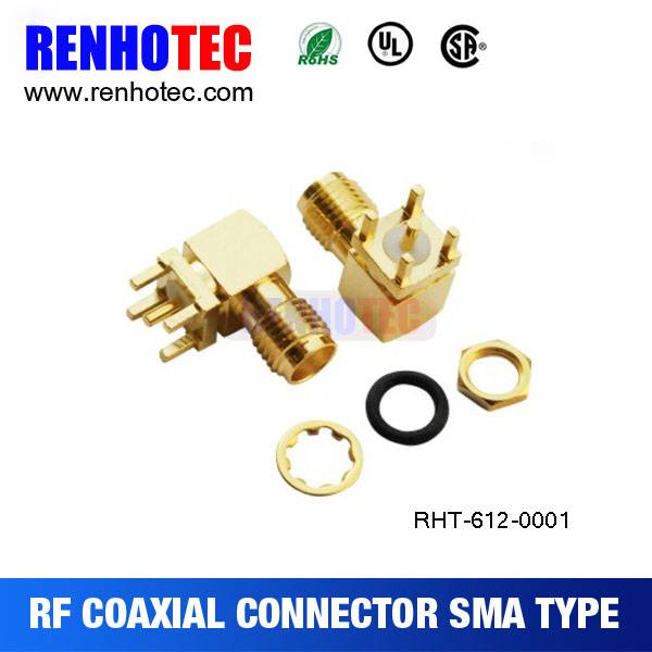 right angle gold plated automotive electrical connectors sma type connector