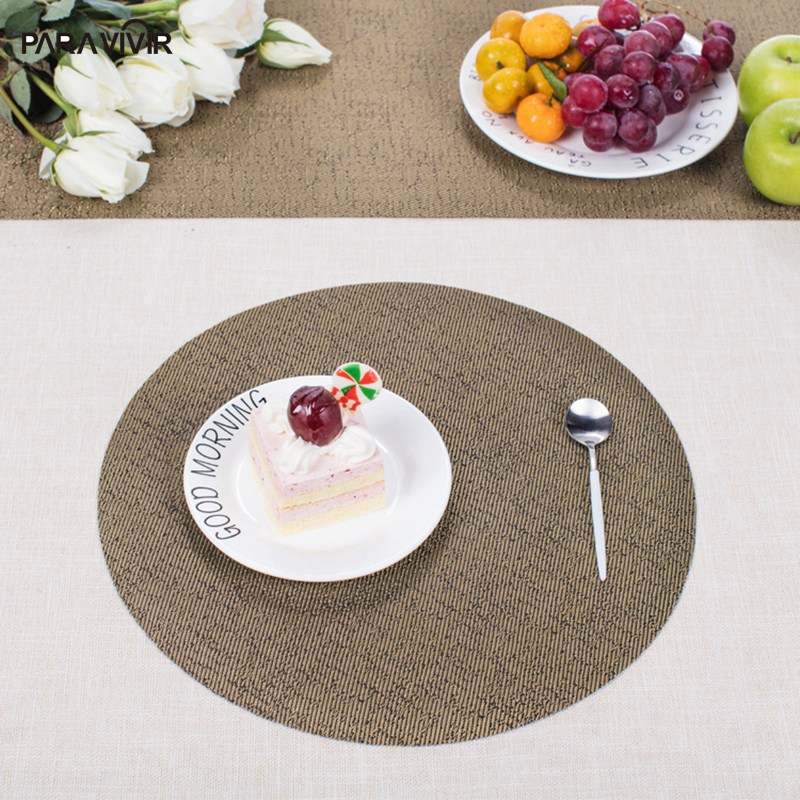 Modern PVC Placemats Round Solid Insulation Coaster Kitchen Accessories Table Mat Bowl Dics Pad