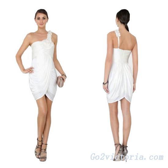 Wholesale White Chiffon Cocktail Dress (W9521)