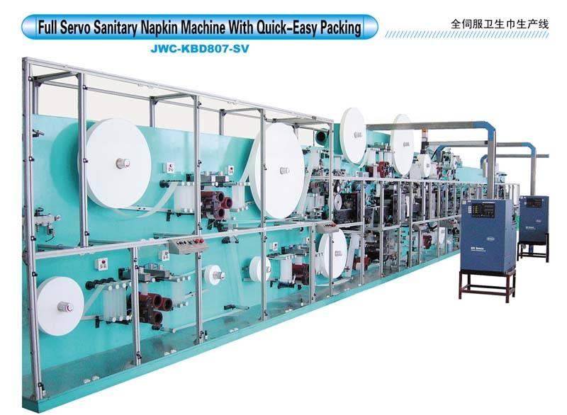 Full Servo Sanitary Napkin Machine With Quick-Easy PackingJWC-KBD807-SV