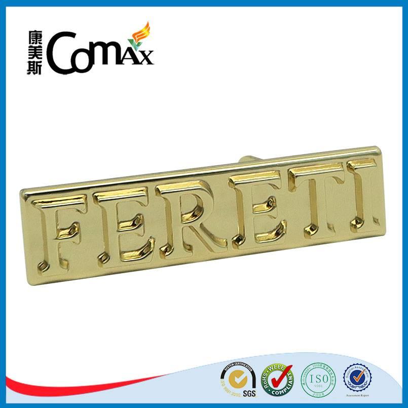 rectangle gold custom metal embossed logo for handbag