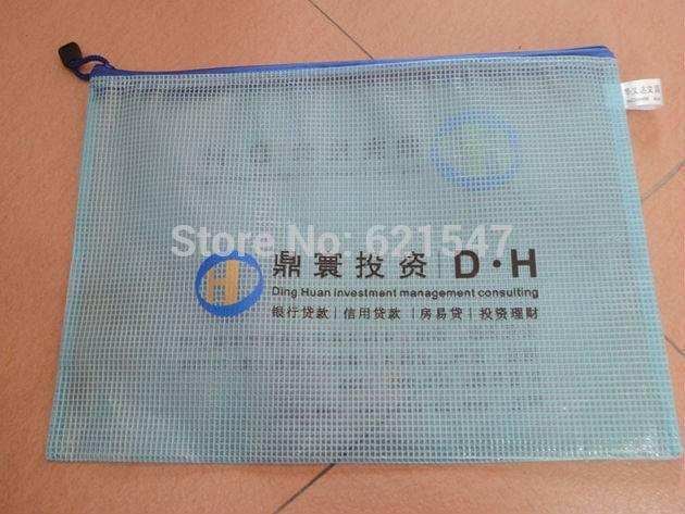 free customized logo printing High-grade Transparent folder A4 mesh zippered bag PVC thickened bag z