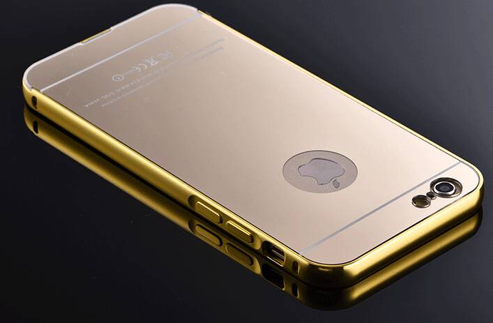 New business Luxury 24K Gold Electroplating Iphone6+plus phone cases Aluminum Alloy with Acrylic mir