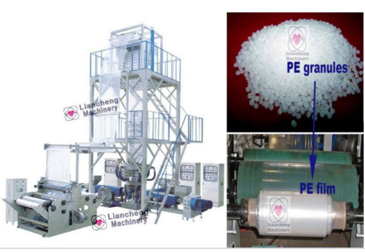 LDPE / HDPE / LLDPE /PA/ PP LC-X3-FM1350 three layer co-extrusion PE film blowing machine