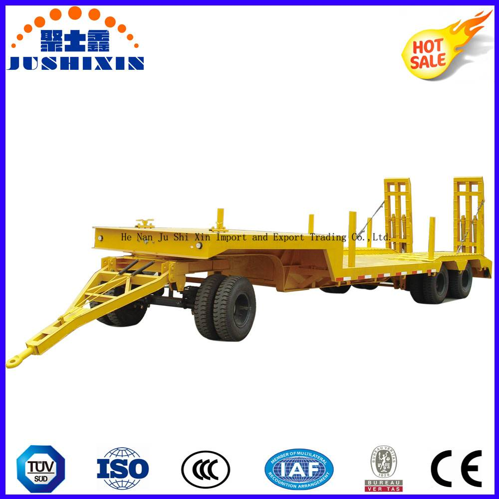 Factory Price 80ton Exacavator Use Utility Superlink Drawbar Exposed Tire Lowbed/Lowdeck Semi Truck