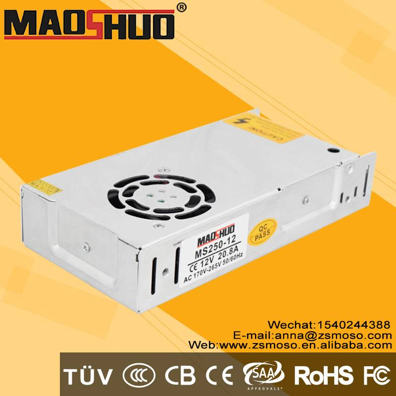 Professional Manufacturer CE RoHS IP20 Standard 250w 12v non waterproof Led Driver