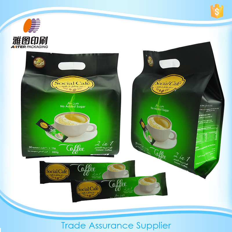 Custom printed resealable plastic coffee packaging pouch bag
