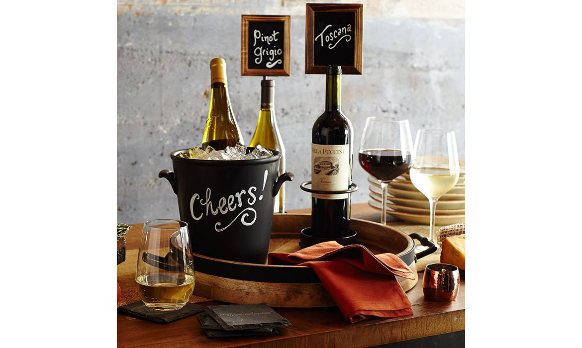 Wine Bottle Display with Sign Holder, Metal and Wood