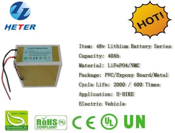 48v40Ah E-Bike Lithium Battery; EV/Scooter/Moped Battery; LiFePO4/NMC Battery Series; 48v Li-ion Bat