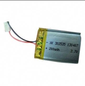 Li-polymer Battery with 3.7V Nominal Voltage, 200mAh Rated Capacity and 500 Times Lifespan