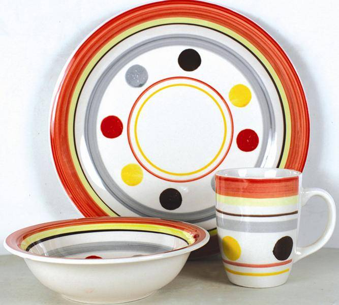 hand painted stoneware 12pcs dinnerware set