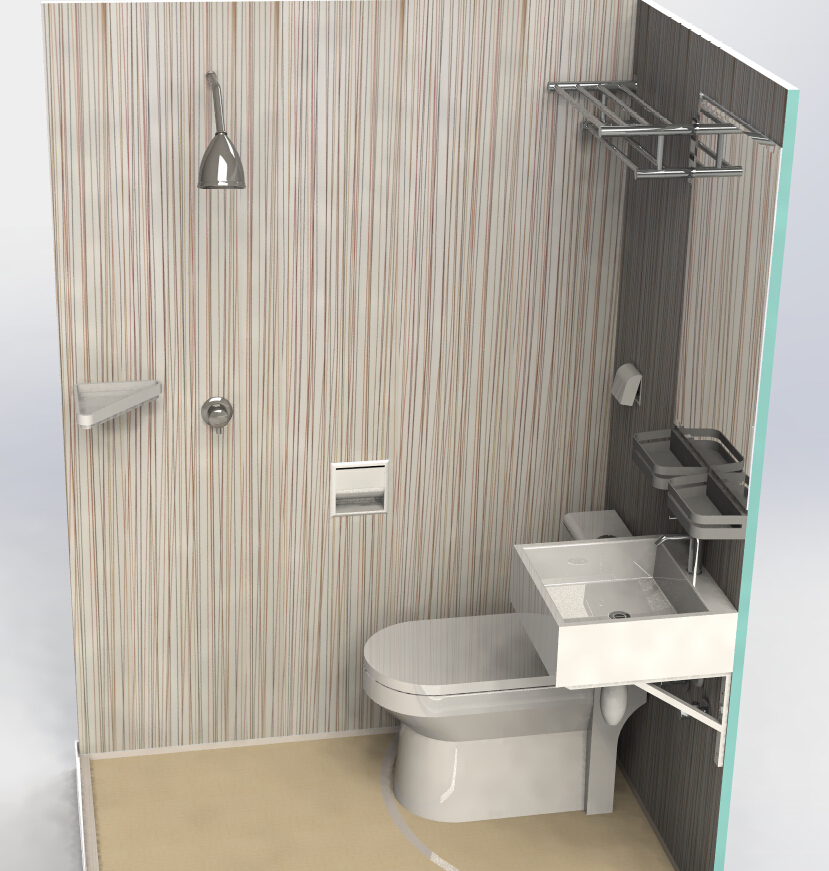 Easy To Install Prefab All In One Full Function SMC Bathroom