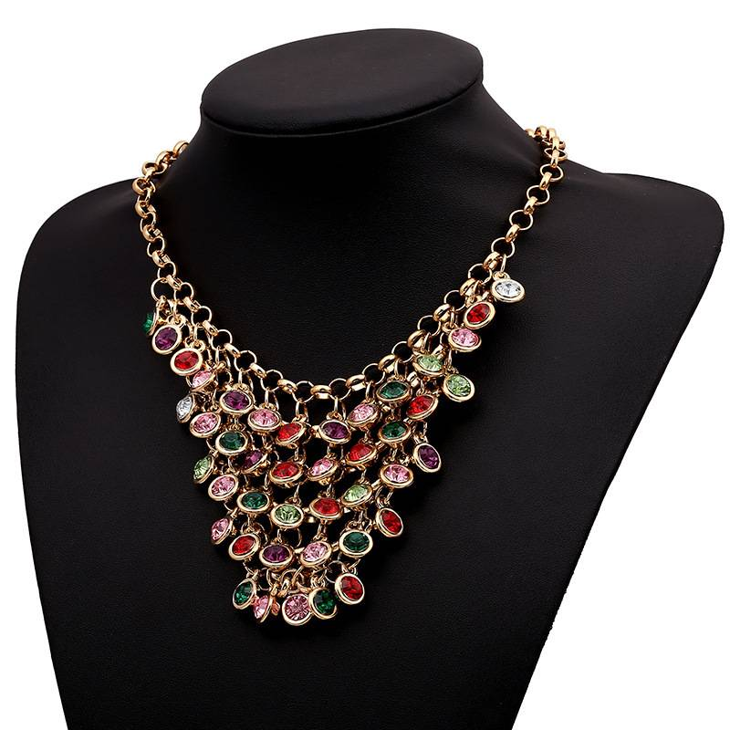 2015 latest designs gemstone necklace colored gemstone jewelry statement necklace