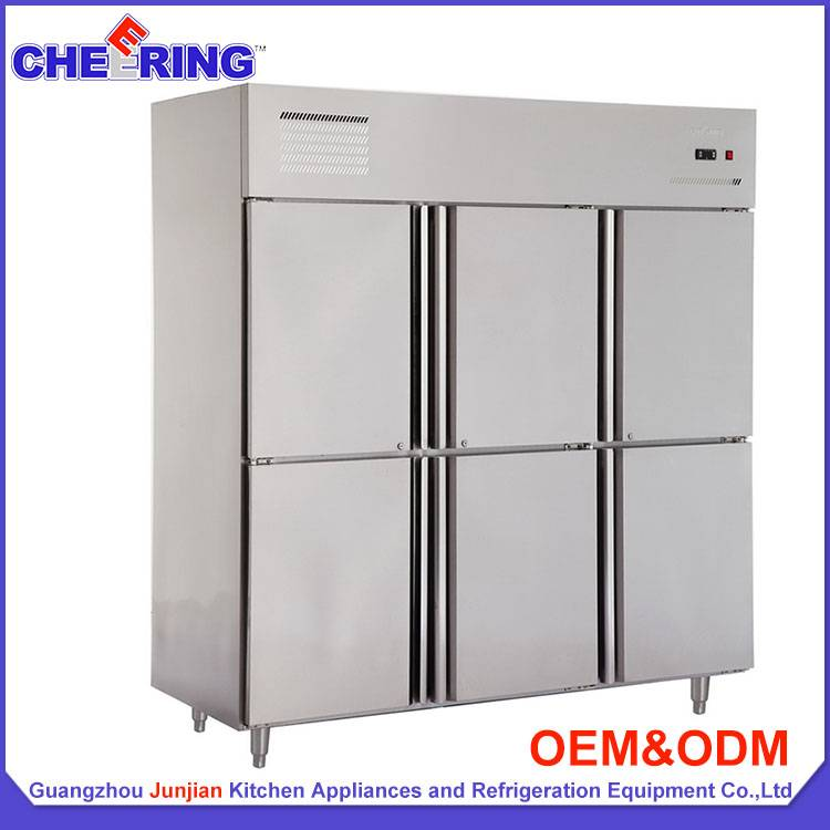 refrigeration equipment 6 door stainless steel commercial upright refrigerator