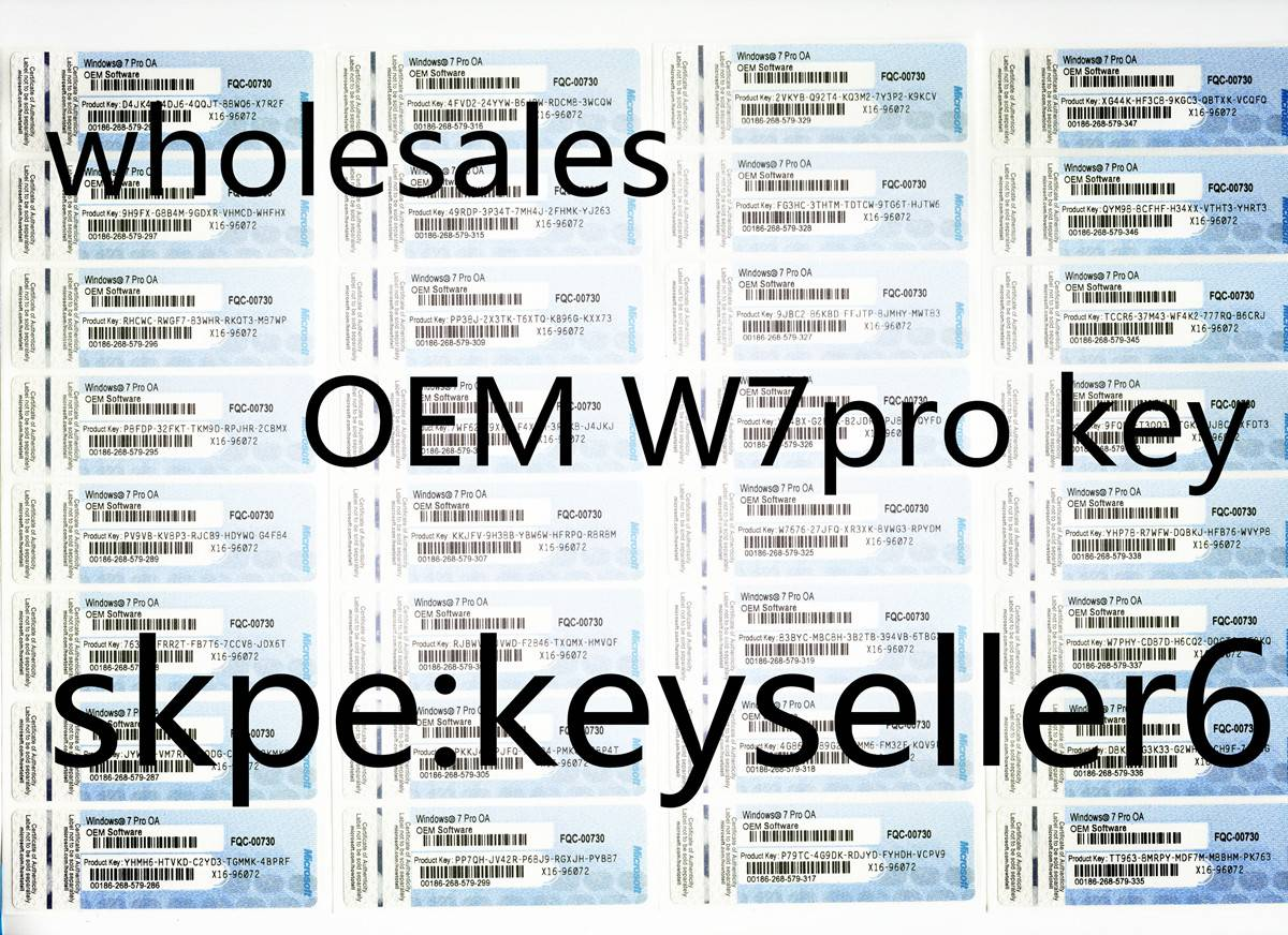 Win7 Pro Key card X16 coa labels oem coa stickers keys windows7