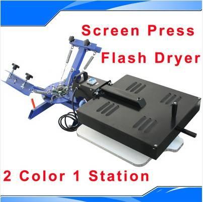 2 Color 1 Station Silk Screen Printing Machine Press Equipment Flash Dryer DIY