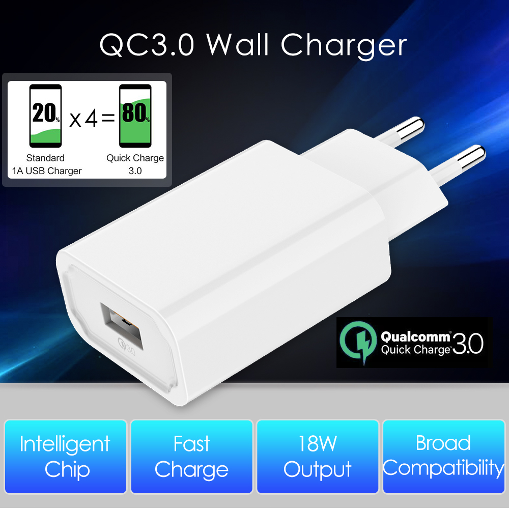 Mobile Phone Charger 18W USB Charger Single Port QC3.0 Fast Charger Quick Charge 3.0