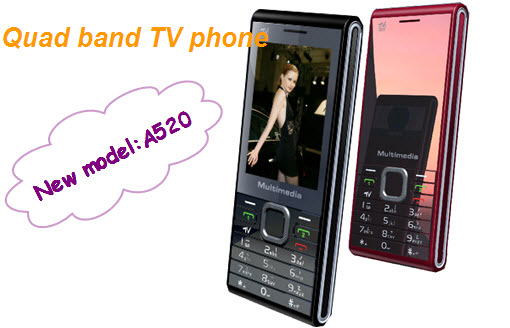 Thin A520 TV mobile phone quad band dual sim cards with very thin body