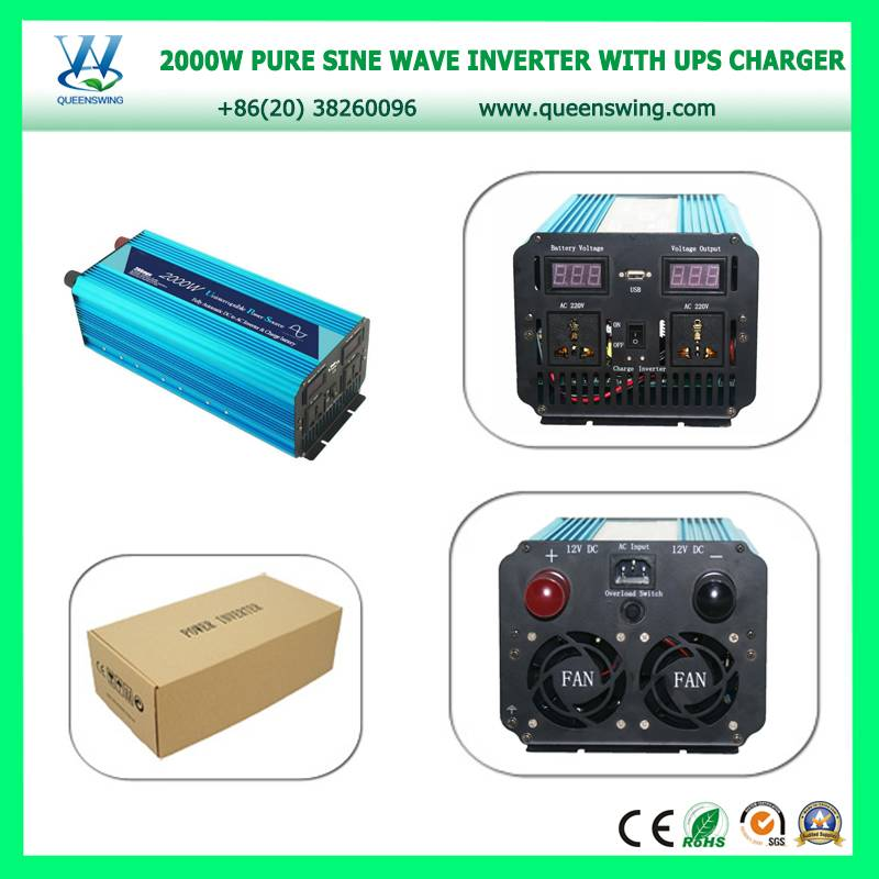QUEENSWING DC12V/24V to AC110V/220V Full 2000W Pure Sine Wave Solar Power Inverter with UPS charger