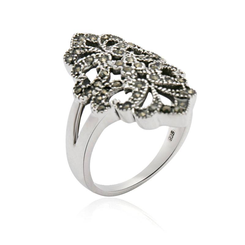 Victorian Style Antique Silver Ring Marcasite Jewelry Export