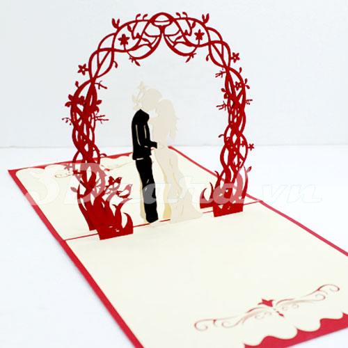 Sweet Wedding-Pop up-Kirigami-Laser cut-Paper cutting-wedding invitation-3D card