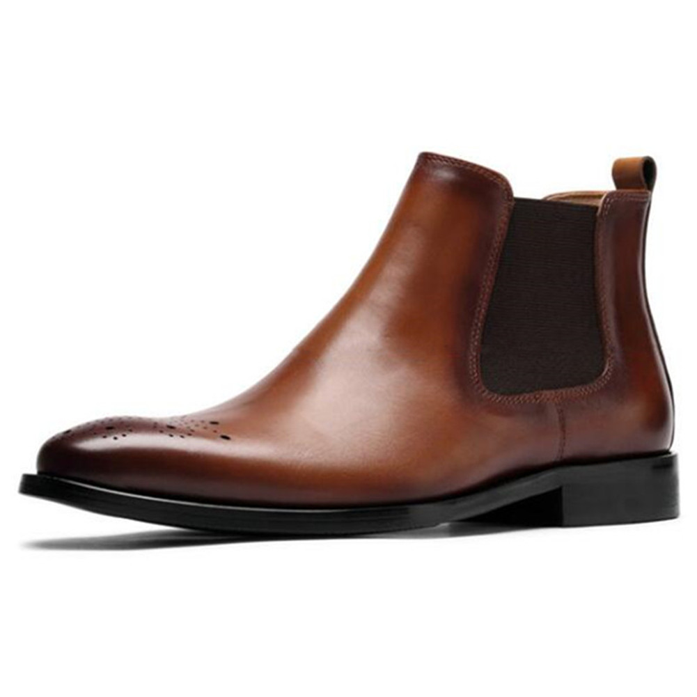 Men height increasing Chelsea boots leather