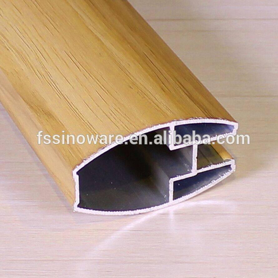Wood color aluminum profile sliding door aluminum sliding wardrobe door