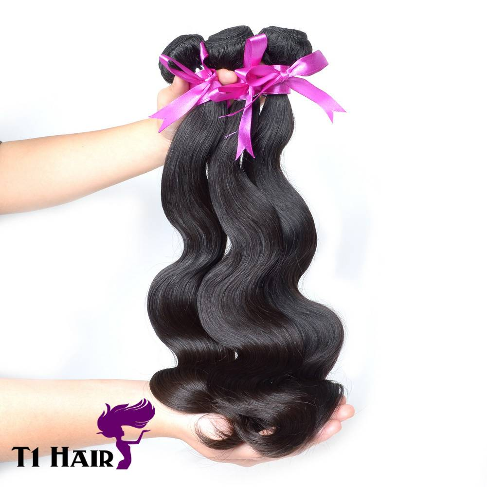 T1 Hair 3pcs Grade 7A Unprocessed Virgin Brazilian Body Wave Human Hair Weave Natural Black #1B