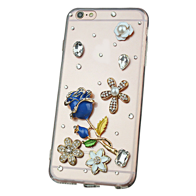 Pretty Rhinestone Blue Rose Tpu Protective Cases for iPhone X/6S/7/8Plus Samsung Huawei Xiaomi