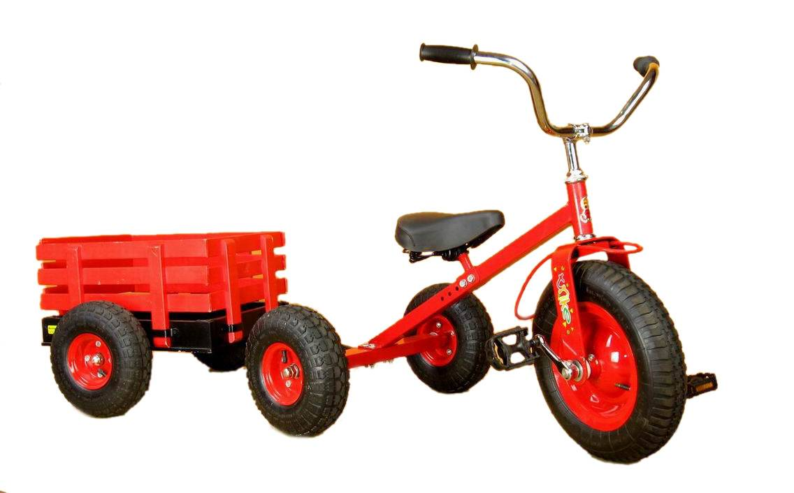 children tricycle toy with trailer