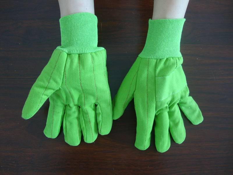 hot selling green knit wrist jersey lined gloves