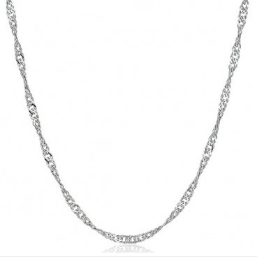 Water Wave Singapore Twisted Links Sterling Silver Chain 925 Silver