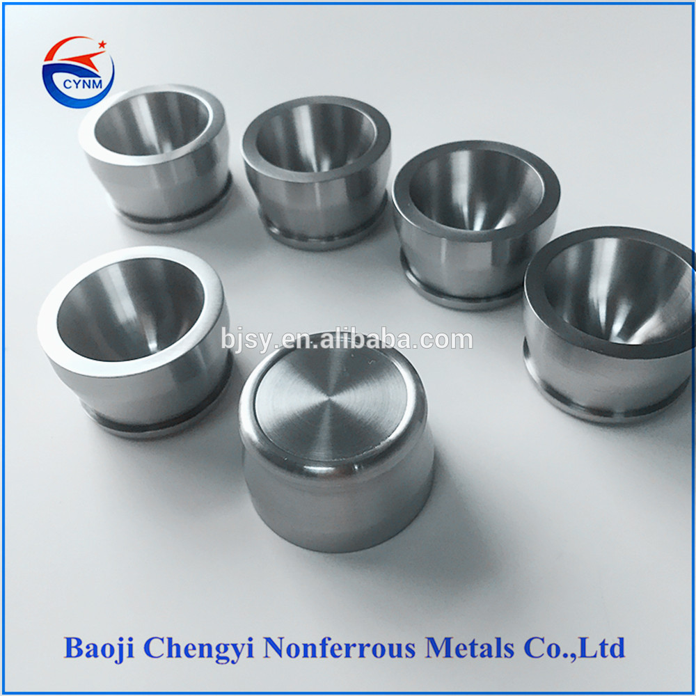 High temperture 99.95% pure W1 wolfram tungsten crucibles for sintered glass