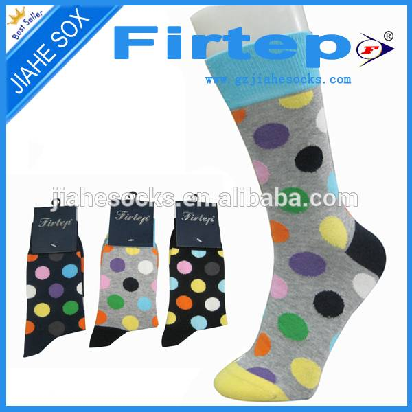 Color dots design with custom logo cotton men's socks