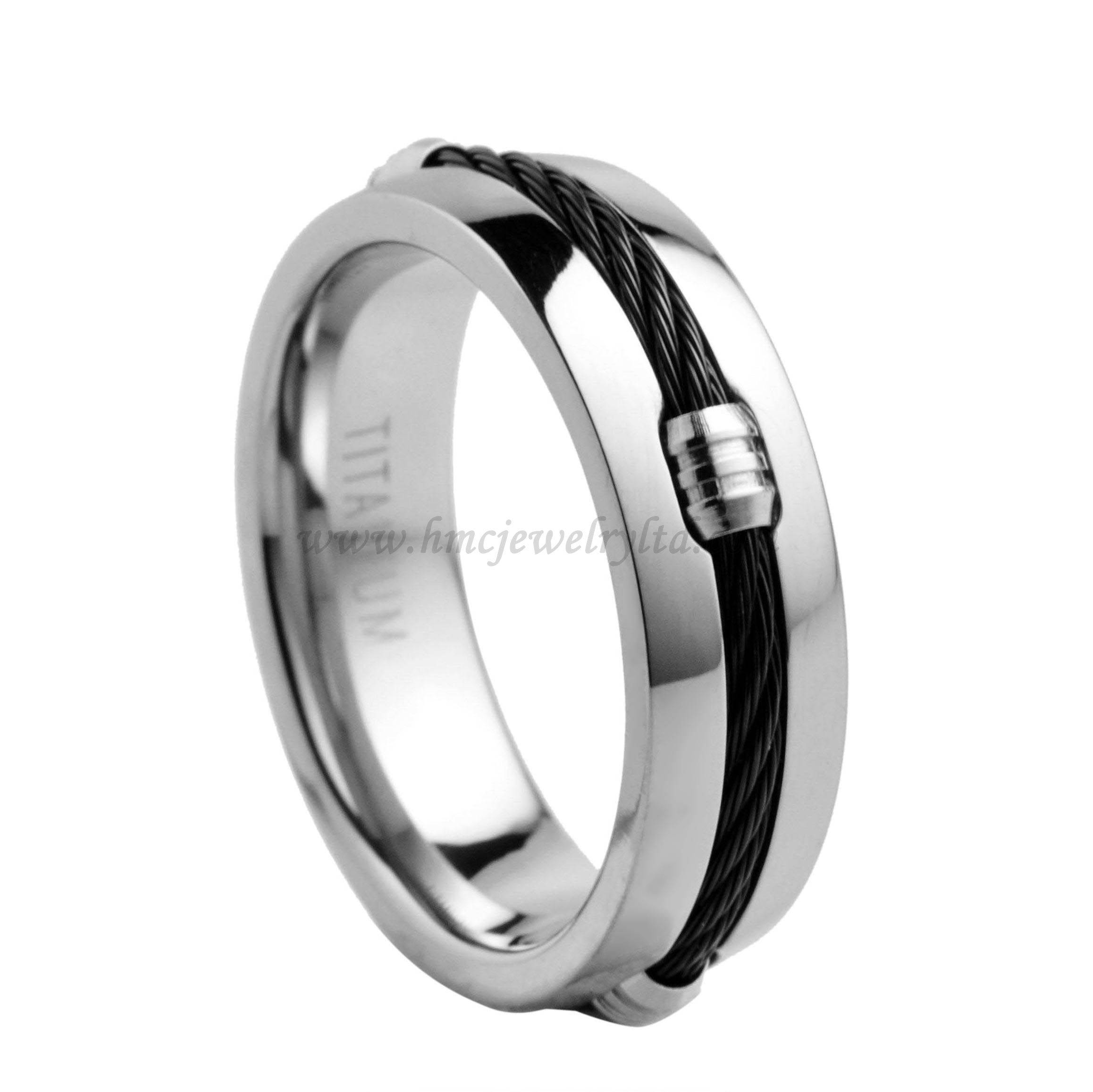 Mens Titanium Steel Cable Ring Without Stones