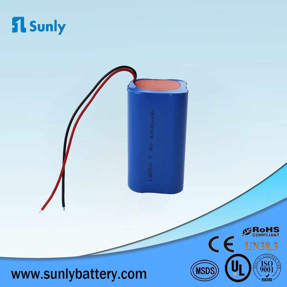 Li ion 18650 battery pack 18650 7.4v 4000mah Lithium ion rechargeable Battery pack for Solar lights