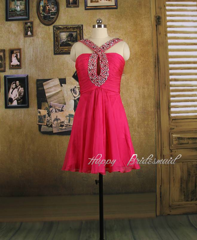 Fuchsia Short Knee Length Prom Dress, Homecoming Dress, Cocktail Dress