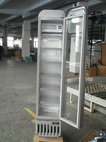 Upright Glass Door Beverage Refrigerator Slim Small Footprint