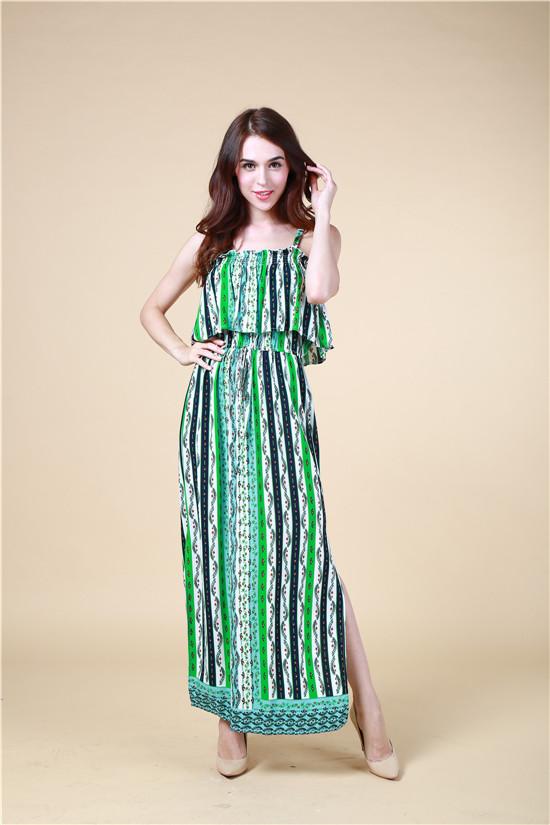 B1328 100% Viscose Fashion Womens Casual /Glamour Beach Printed Dresses