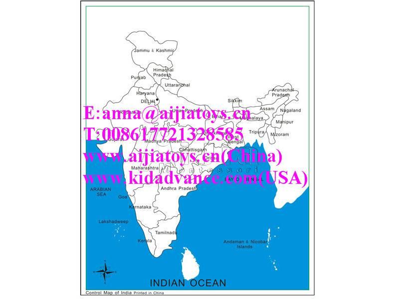 Montessori Labeled India Control Map,montessori toys