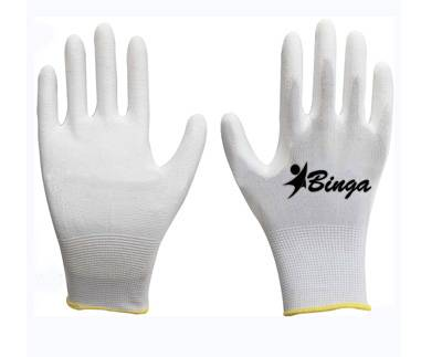 Sell White PU Coated 13G Polyester Safety Glove