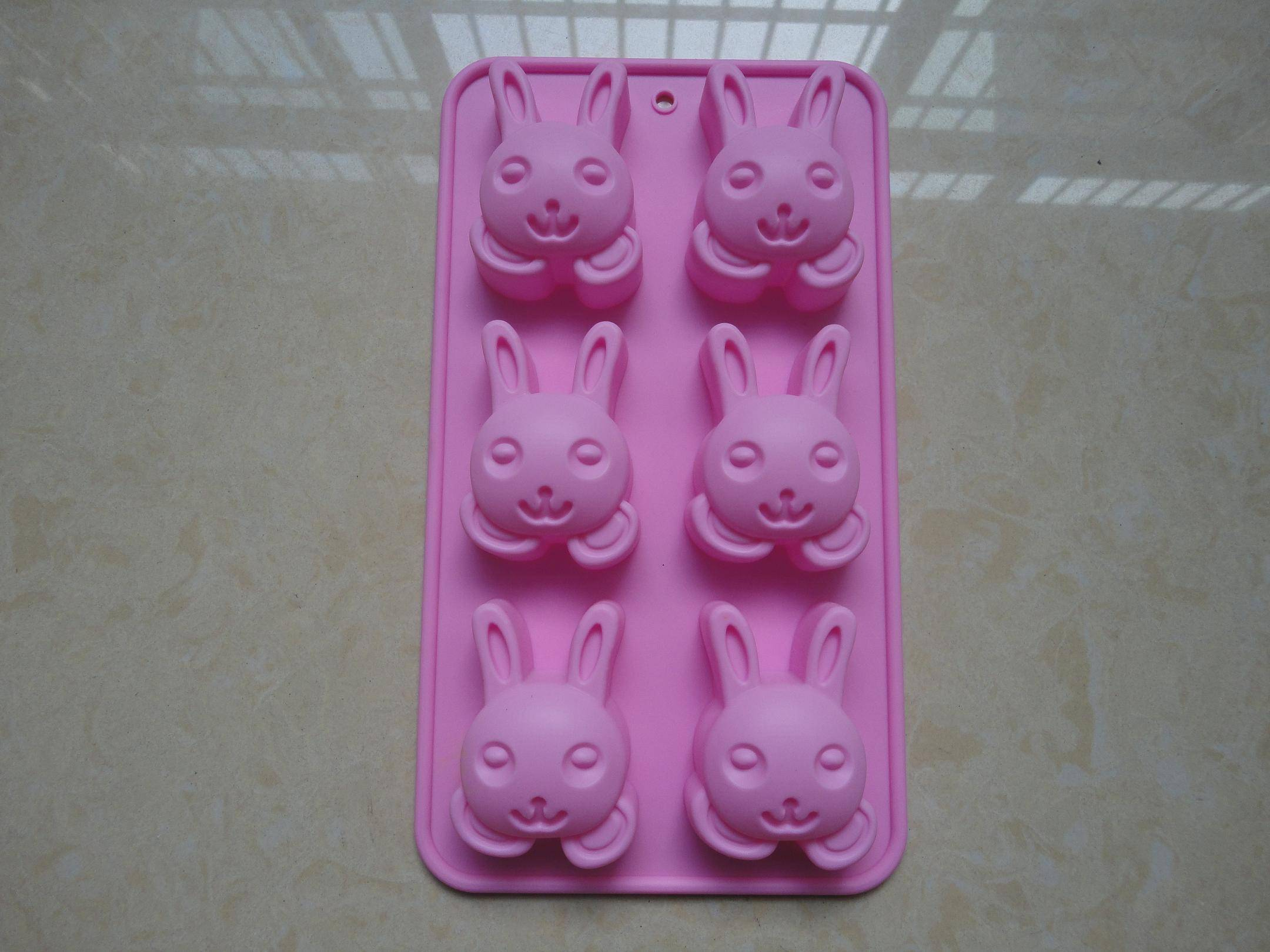 6 cavity FDA / LFGB rabbit shape bakeware silicone cake mold makers