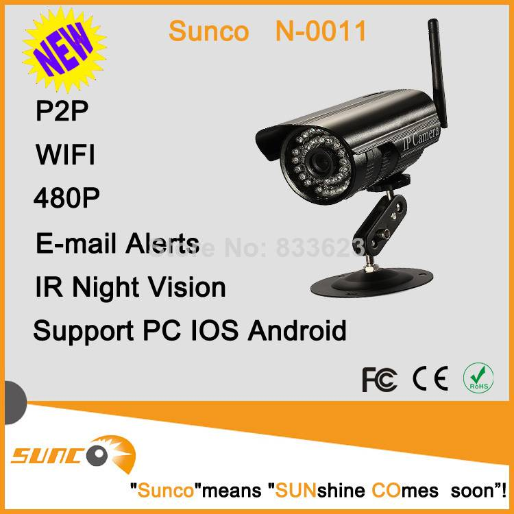 300k pixels mini style P2P outdoor wifi IP camera, support motion detection