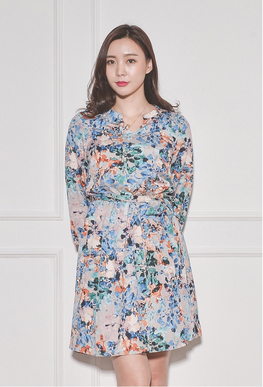 Summer Fashion Wholesale lady dress Korean style Pattern Dress waistband 3/4 sleeves For women