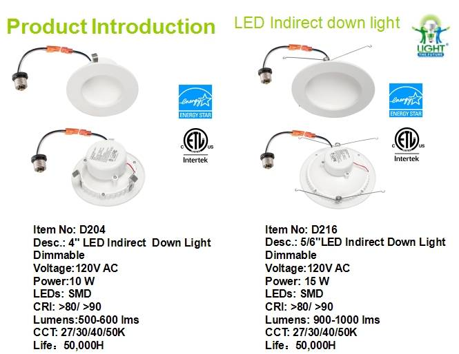 "New cETLus and Energy Star Approved 6"" Indirect Down Light Dimmable"