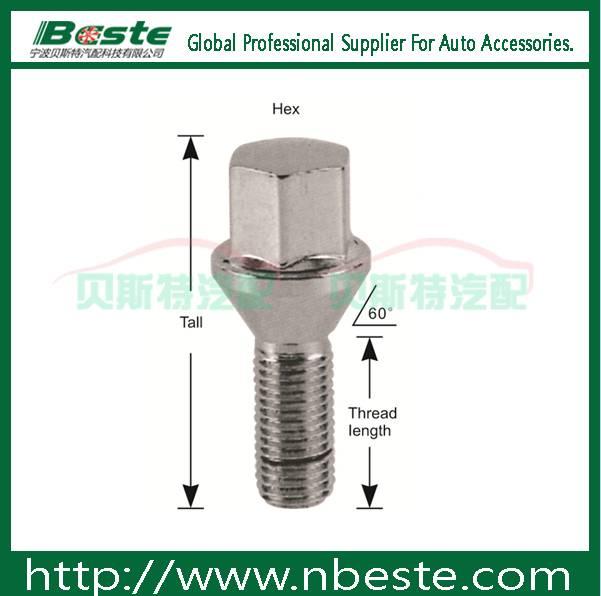 Lug locks m12x1.5 Conical seat lug bolts anodized wheel bolts wheel nut and bolts