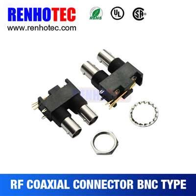 Right Angle Black Plastic Double Jack BNC Connector In One Row For PCB Mount