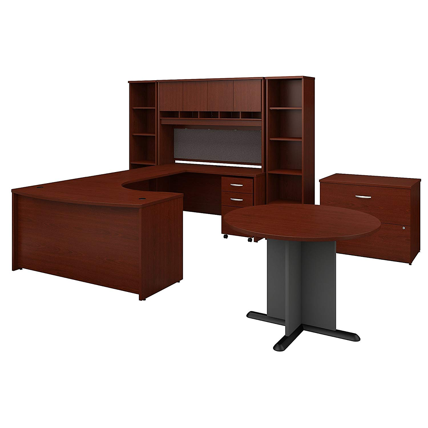 Bush Business Furniture Series C 60W Right Handed Bow Front U Shaped Desk with Storage and Conferenc