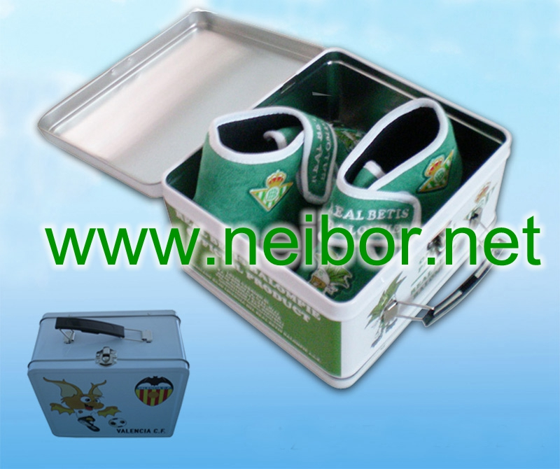 kid shoe box, gift box for shoes, tin handle box, tin lunch box
