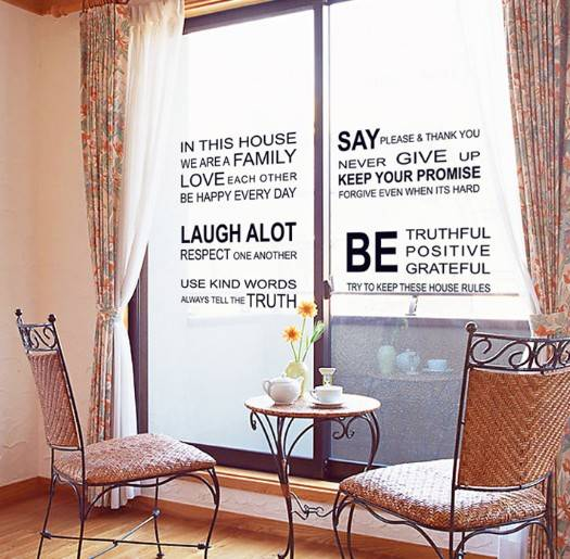New Arrival Black Characters Wall sticker letter Window and door decal DIY removable Home deocor Siz